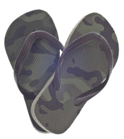Masculine Camouflage Flip Flop Sandals in Heart Shape Isolated on White with a Clipping Path. photo