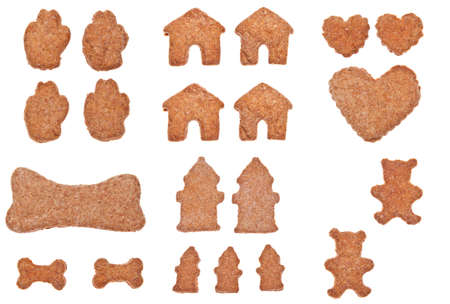 Collection of Shaped Cookies a Treat for Pets or People.  Isolated.