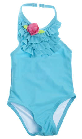 Blue Summer Bathing Suit with Pink Rose Isolated on White with a Clipping Path.