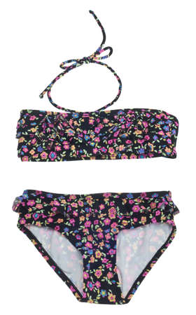 two piece bathing suit: Summer Floral Bikini Isolated on White with a Clipping Path.