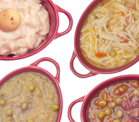 Cream of Potato Soup, Beef Vegetable Soup, Classic Chicken Noodle Soup, and Split Pea Soup Background. photo