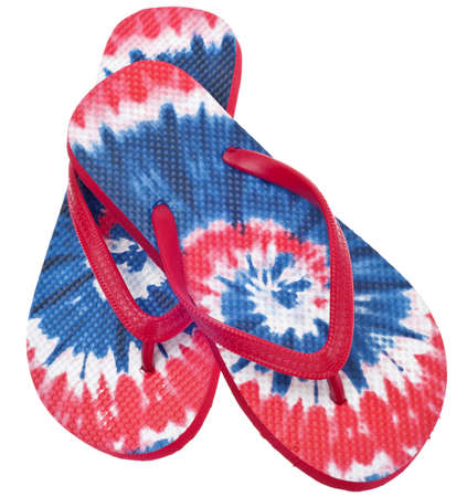Patriotic Red, White and Blue Tie Dye Flip Flop Sandals Isolated on White with a Clipping Path. Stock Photo - 9694674