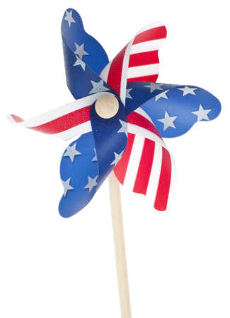 Patriotic Red White and Blie Pinwheel with Stars and Stripes of USA Isolated on White. Standard-Bild