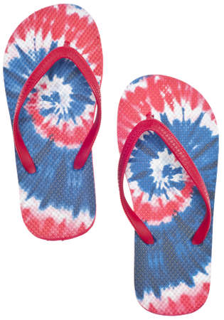 Patriotic Red, White and Blue Tie Dye Flip Flop Sandals Isolated on White with a Clipping Path. Stock Photo - 9694393