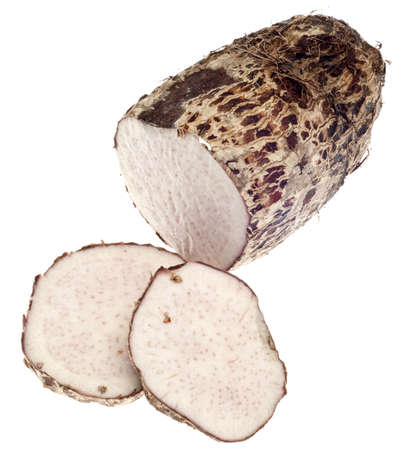 Taro Root Yam Vegetable Isolated on White with a Clipping Path. Standard-Bild