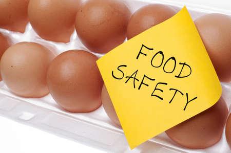 Eier können Salmonellen Lebensmittelsicherheit Konzept Konzept mit Brown Egg and Yellow Note Carry. Standard-Bild - 9986944