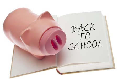 Back to School Concept with Piggy Bank and Open Book Isolated on White.