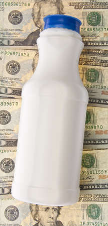 expensive: Healthy School Lunch Themed Image.  Milk Money. Stock Photo