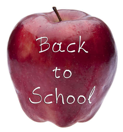 Red Apple with Back to School Message Isolated on White photo