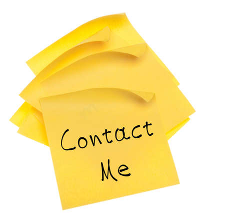 contact: Stack of Blank Yellow Sticky Notes with Edges Curled.  Isolated on White