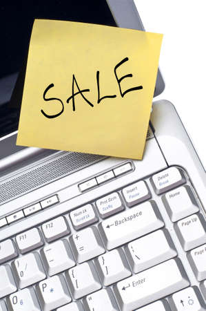 Blank Note on Laptop Computer with Copy Space for Your Message. Stock Photo - 9987035