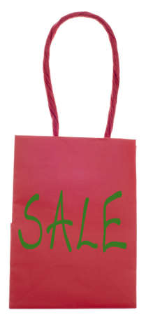 Holiday Sale Shopping Bag Sack Isolated on White  photo