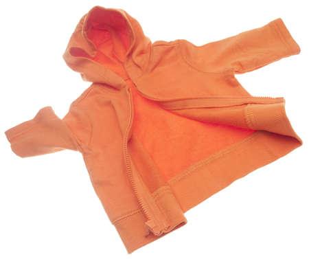 hooded sweatshirt: Orange Hooded Sweatshirt Isolated on White
