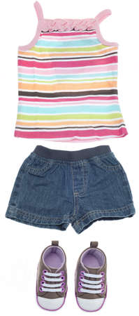 casua: Outfit for a Girl Child Including Tank Top, Shorts and Sneakers Isolated on White