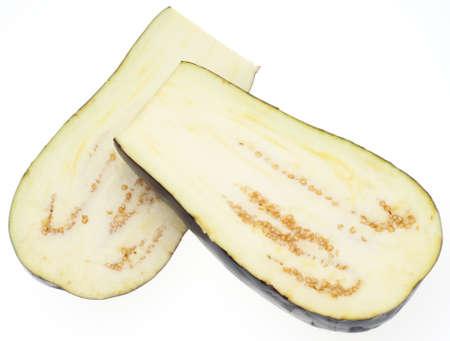 Sliced Eggplant Isolated on White