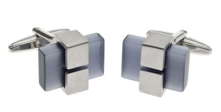 cuff link: Pair of Modern Metal and Stone Cufflinks Stock Photo