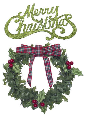Holiday Wreath with Merry Christmas Isolated on White  photo
