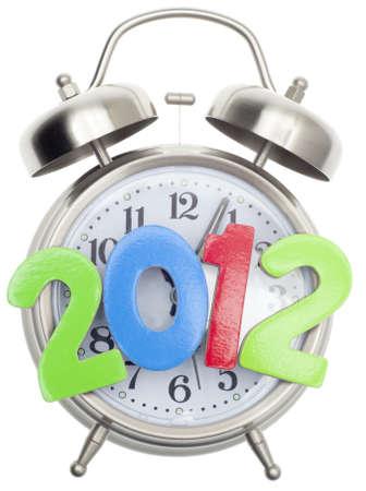 fin d annee: Concept de temps de 2012, nouvel an ou � la fin du monde isol� sur fond blanc.