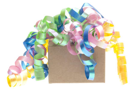 Gift Box with Large Bow Isolated on White