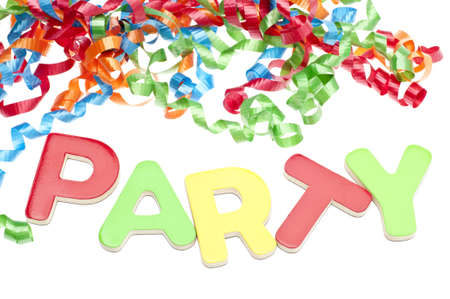 Party Concept with Streamers and Party Isolated on White.