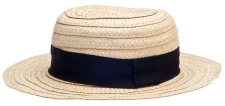 화이트 절연 전통적인 밀 짚 모자 스톡 콘텐츠