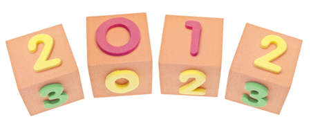 0 1 years: 2012 on Cubes with Numbers Isolated on White