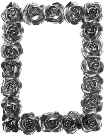 Silver Metal Rose Ornate Frame Isolated on White photo