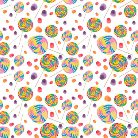Candy Seamless Wallpaper Background with Lollipops and Gumdrops on White.