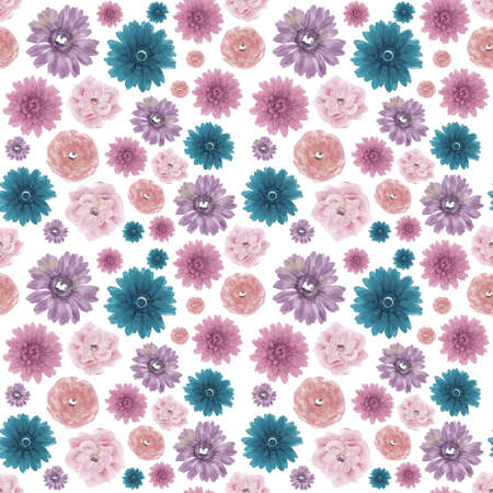 muted: Muted Colors Seamless Flower Background Photograph.
