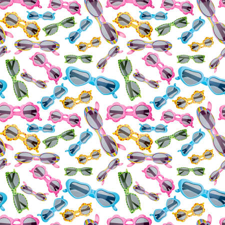 strawberry frog: Seamless Background of Childrens Sunglasses on White Photograph.