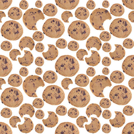 Chocolate Chip Cookie Seamless Background Photograph. Stock Photo - 9989876
