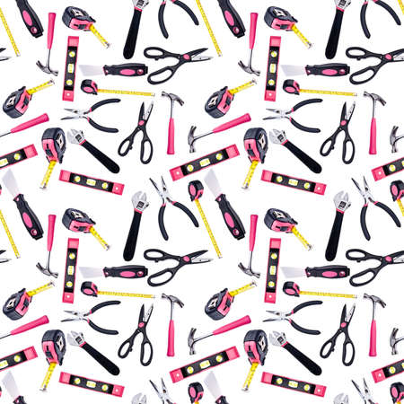 Pink and Black DIY Tools Seamless Background Pattern Photograph. photo