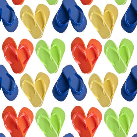 repetition: Flip Flop Sandals in Heart Shapes Seamless Background Pattern. Stock Photo