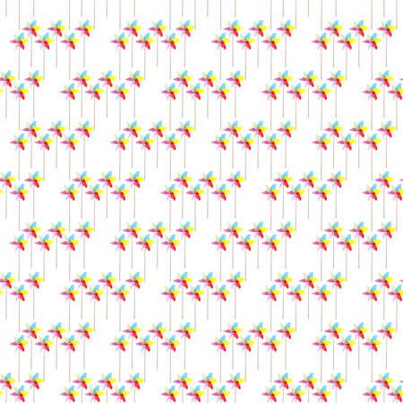 Colorful Pinwheel Seamless Background Pattern on White. Stock Photo - 9989854