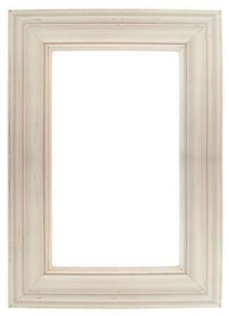 Pastel Wooden Frame Isolated on White  Фото со стока