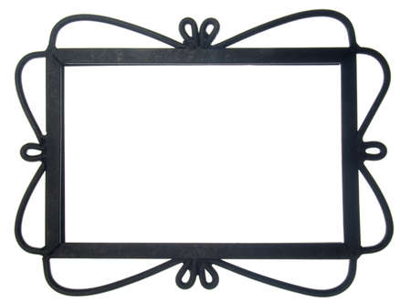 Ornate Black Frame Isolated on White  Stock Photo - 9989837