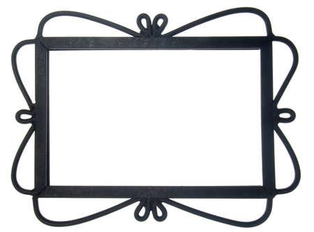 Ornate Black Frame isolato su bianco Archivio Fotografico - 9989837
