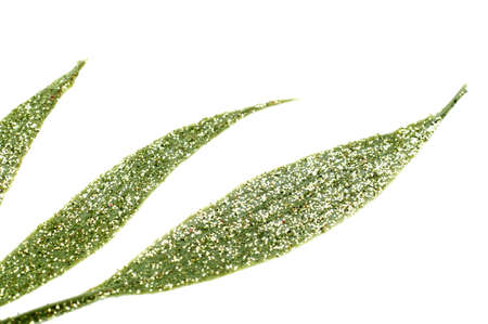 Abstract Glitter Leaf Shape Background on White. Stock Photo