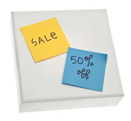 Sale 50% Off Handwritten Notes on Canvas Isolated on White  Banco de Imagens
