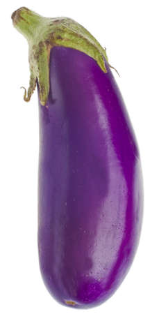 Vibrant Purple Organic Eggplant Isolated on White