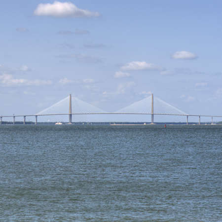Ocean Landscape with Ravenal Bridge in Charleston, SC USA  photo