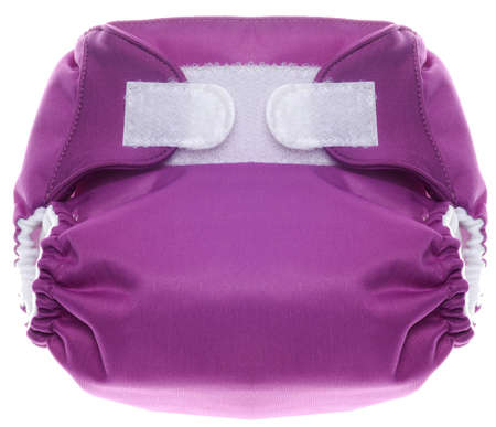 Eco Friendly Purple Cloth Diaper with Hook and Loop Closure Isolated on White  photo