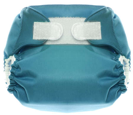 Eco Friendly Blue Cloth Diaper with Hook and Loop Closure Isolated on White  photo