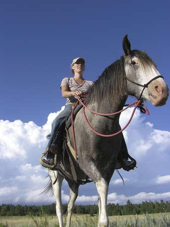 Spanish Mustang and rider photo