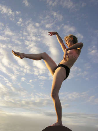 womanhood: Woman in yoga position