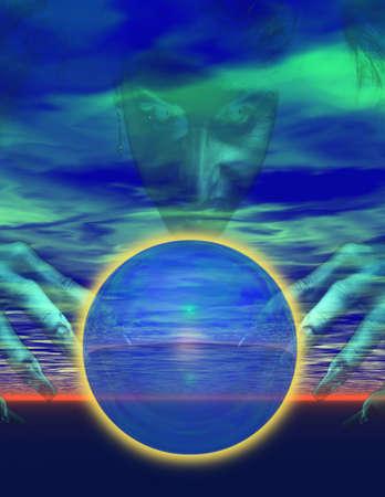 wahrsager: Hexe und Crystal Ball  Lizenzfreie Bilder