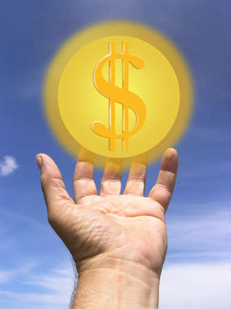 Hand Reaching out to a symbol of wealth Stock Photo