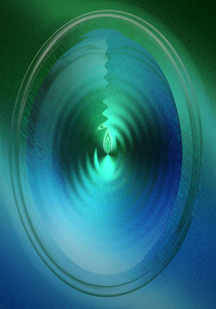 transcendental: Blue RIpple with green center Stock Photo