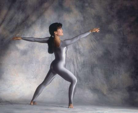 apt: Dancer in blue leotard