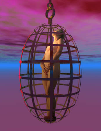 Illustration of nide woman in a suspended cage with sunset background Stok Fotoğraf
